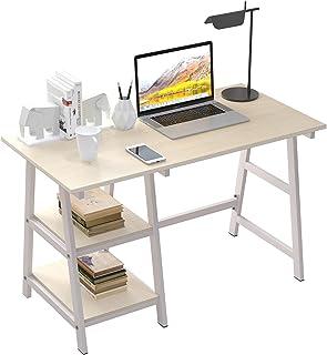 SogesPower Bureau pour ordinateur - Bureau d'étude - Avec cadre en acier et 2 étagères pour beaucoup d'espace de rangement...