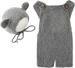 Fashion Newborn Boys Girls Baby Photo Shoot Props Outfits Crochet Clothes Mohair Hat Rompers Photography Props