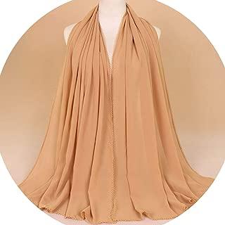Women Plain Lace Chain Bubble Chiffon Hijab Scarf Ladies Summer Printe Soft Shawls and Wraps Headband