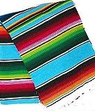 Mexitems Large Serape Mexican Blanket Authentic Sarape Blanket 7' X 5' Zarape (Pick Your Color) (Light Blue)