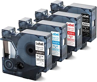 Replace DYMO D1 Label Tape, 1/2 inch 45013 45014 45015 45021 Black/Blue/Red on White, White on Black, 1/2