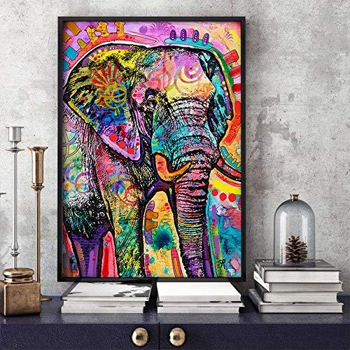 ganlanshu Abstrakte Moderne Tierölmalerei auf der Leinwandwandfarbbild-Elefanten-Leinwandplakat-Hauptdekoration,Rahmenlose Malerei,60x83cm