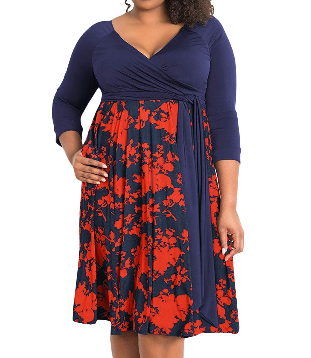 Available at Amazon: RED DOT BOUTIQUE 8806 - Plus Size V-Neck 3/4 Sleeves Wrap Evening Office Dress