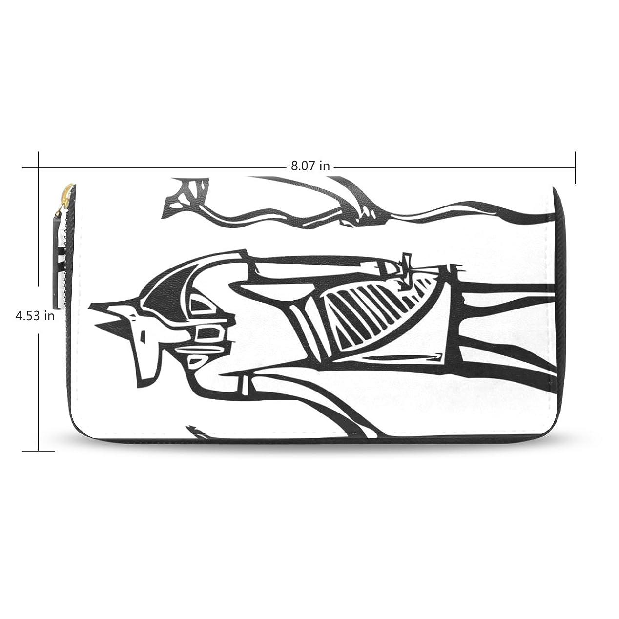 日付付きドラマ手数料レディース古代エジプトアートパターン長財布&財布ケースカードホルダー