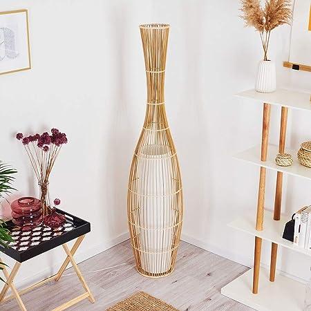 Lampadaire Saranda en bambou et tissus blanc, élégant luminaire de salon de style Boho avec interrupteur sur le câble, hauteur 160 cm, pour 1 ampoule E27 max. 40 Watt, compatible ampoules LED