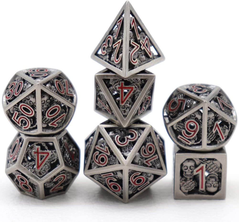 HVCMISHILE Hollow Metal DND Skull Polyhedral for 7Pcs Popular Cheap mail order shopping shop is the lowest price challenge D Dice Set