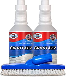 Best IT JUST WORKS! Grout-Eez Super Heavy Duty Tile & Grout Cleaner and whitener. Quickly Destroys Dirt & Grime. Safe For All Grout. Easy To Use. 2 Pack With FREE Stand-Up Brush. Clean-eez Review