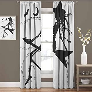 Music All Season Insulation Witch Flying on Electric Guitar Notes Bat Magical Halloween Artistic Illustration Noise Reduction Curtain Panel Living Room W42 x L84 Inch Black White