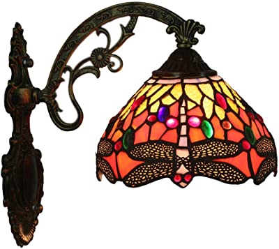 Tiffany Style Wall Lamps & Sconces,Stained Glass Wall Lighting Fixtures ,Vintage Wall Light for Indoor Coffee Shop Bedroom Hallway,Bedside Lamps,E27 (Color : A)