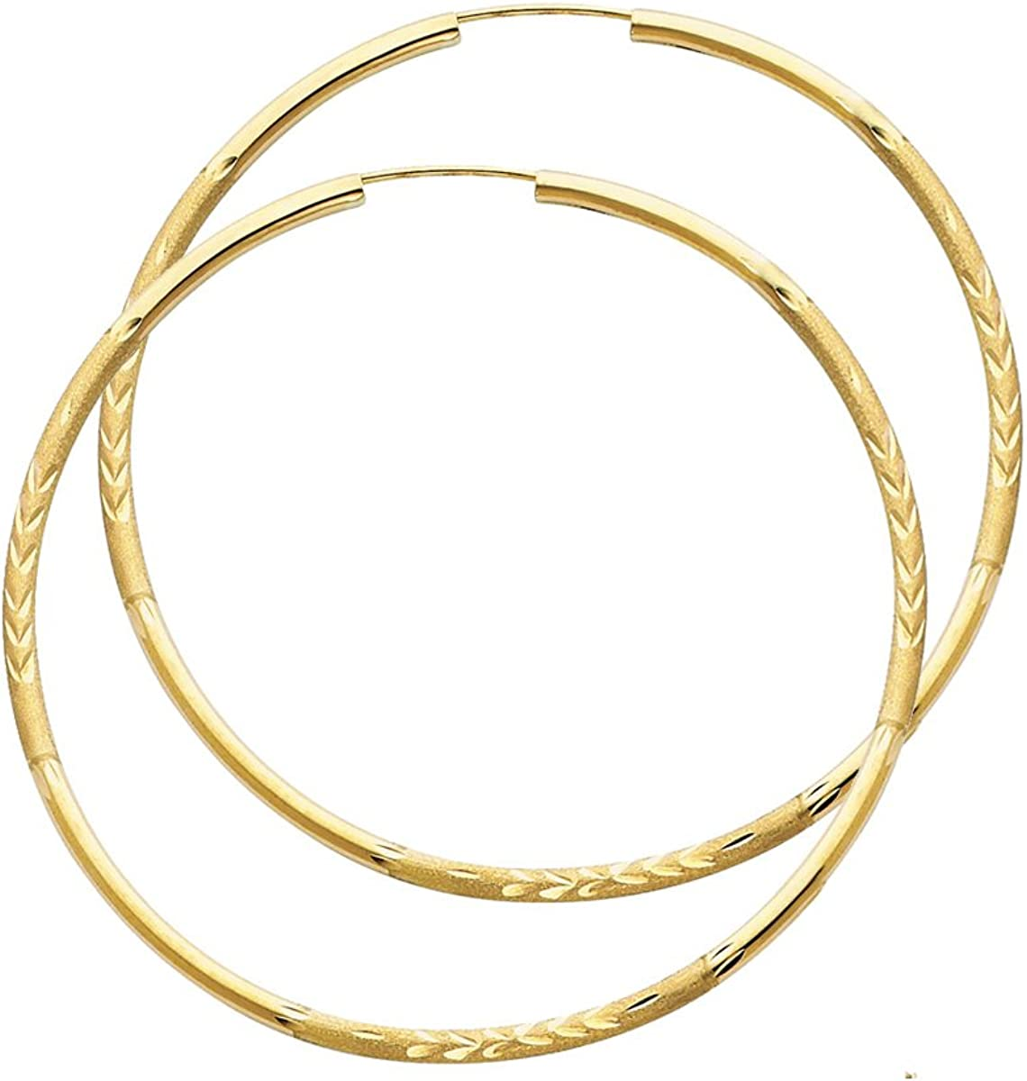 14k Yellow Gold 2mm Thickness Endless Diamond Cut Hoop Earrings - Diameter 50mm