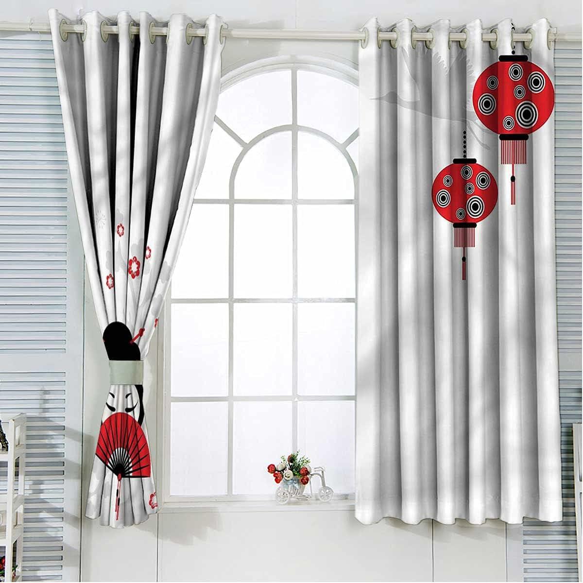 Lantern Curtains Drapes 63 Inch Woman Geisha Japanese C Max 83% OFF store Length