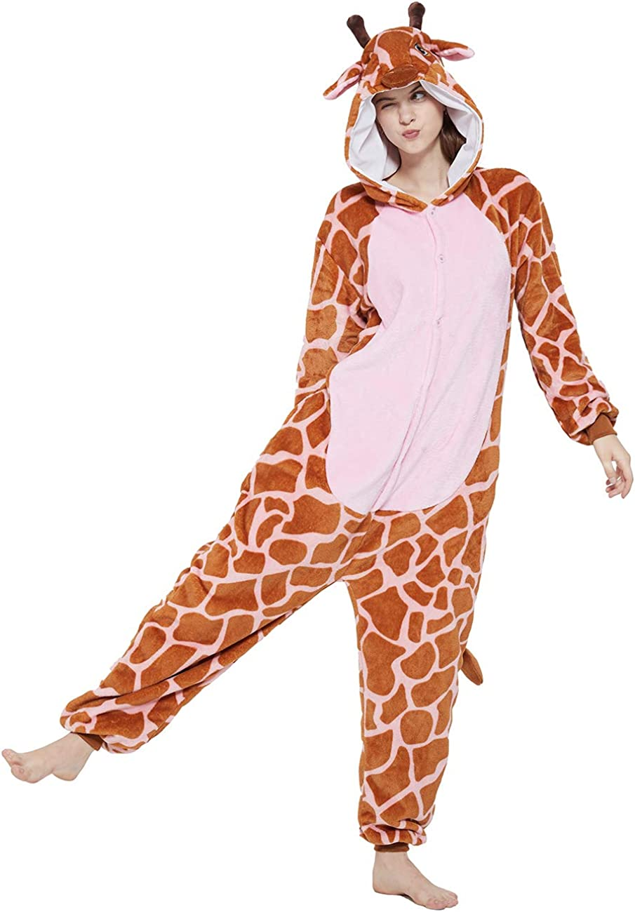 ANBOTA Adult Regular store Cheap mail order specialty store Giraffe Onesies Plush Women Cosplay Animal Costume