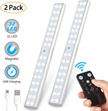 LUNSY 32LED Closet Light Rechargeable, Wireless Under Cabinet Lighting with Remote, 220lm,Stick-on Portable Under Counter Shelf Magnetic Light Bar for Kitchen, Wardrobe - 2Pack(Silver)