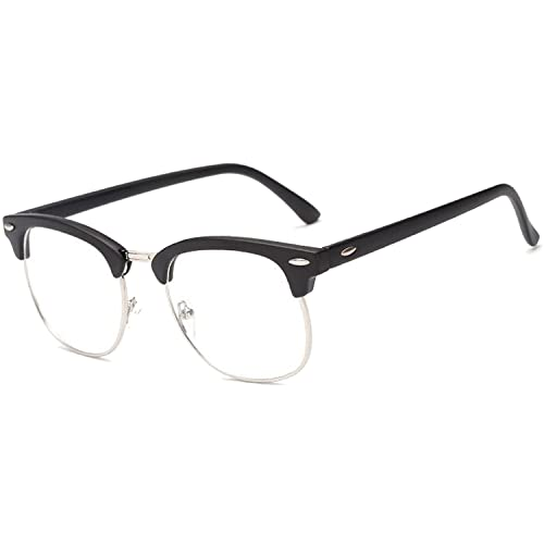 4d3d1dbfab9 Men Women Fashion Classic Half Metal Frame Rimmed Plain Clear Lens Glasses  Decorative Accessory Frame for