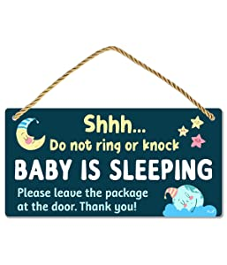 Funplus Baby Sleeping Sign for Front Door - Do Not Knock or Ring - 10″x5″ PVC Plastic Hanging Sign