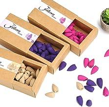 Jeteven 120pcs 3 Box Backflow Incense Cones Sandalwood Lavender Rose Mixed Natural..