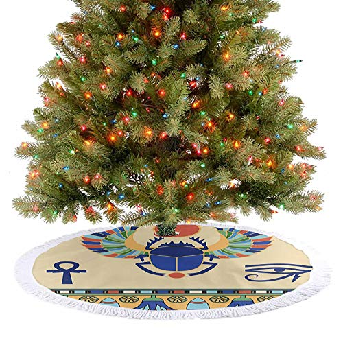 Tassel Christmas Tree Skirt Antique Historical Culture Icon of Scarab Eye of Ra Horus with Ornaments Multicolor Christmas Decorations for Xmas Decor Festive Holiday Decoration - 30 Inch