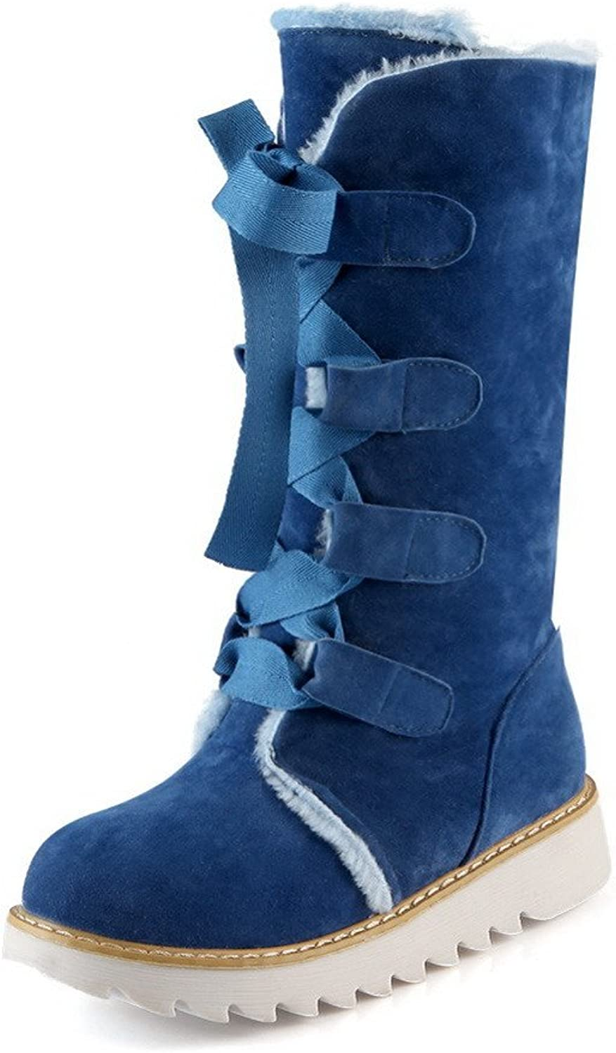 WeenFashion Women's Solid Low-Heels Round Closed Toe Imitated Suede Lace-up Boots