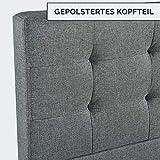 ArtLife Polsterbett Manresa 90 x 200 cm - Bett mit Lattenrost und Kopfteil - Zeitloses modernes Design, Grau - 3
