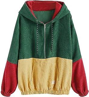Funny Rainbow Wave Printed Long Sleeve Zip Up Plush Crop Hooded Coat