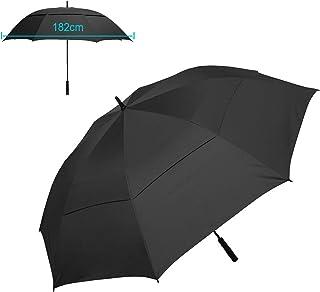 ゴルフ傘 メンズ 日傘 長傘 紳士傘, 特大 182cm アンブレラ 傘 ダブルキャノピー 丈夫 晴雨兼用 ようこそ釣り防風防水傘超高強度 台風対応 遮光 ビジネス用 収納ポーチ付き