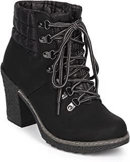 7b9113d4f698 Nature Breeze Women Quilted Mix Media Lace Up Chunky Heel Bootie DJ51 -  Black Mix Media
