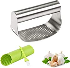 FAVIA Garlic Press Rocker Stainless Steel Crusher Mincer with Beer Opener, Silicone Tube Peeler & Cleaning Brush - Dishwas...