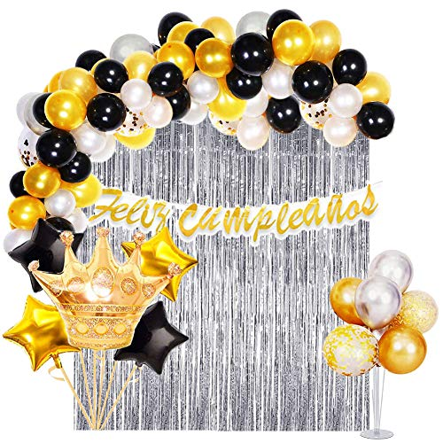 Decoración Fiesta de Cumpleaños para Adultos Oro Negro-  Guirnalda de Globos, Pancarta Feliz Cumpleaños, Cortina de Flecos,  Globo de corona y Globos de Látex con Confeti.