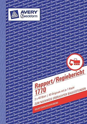 Avery Zweckform 1770 Rapport/Regiebericht (10)