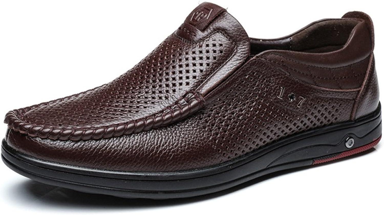 Lederschuhe Klassische Männer Männer Männer Echte Lederschuhe Slip-on Atmungsaktive Perforation Weiche Flache Sohle Loafer  41005d