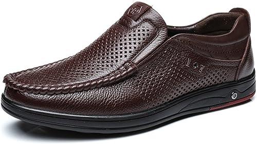 Hhoro Summer New Men's Peas zapatos Set Foot Zapaños Perezosos de Cuero Zapaños de los hombres de Inglaterra Zapaños de conducción de Moda hombres (Color   azul, Tamaño   45)