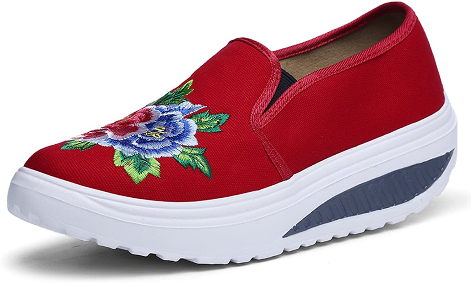 RX1681hongse39 EnllerviiD Women Embroidery Canvas Platform Walking shoes Slip On Toning Fitness Sneakers Red 7 B(M) US