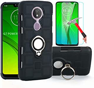 L00KLY Moto G7 Power Case, Moto G7 Supra Case with HD Screen Protector, Dual Layer Shockproof Case with 360 Degree Rotating Ring Kickstand Fit Magnetic Car Mount for Motorola Moto G7 Power (Black)