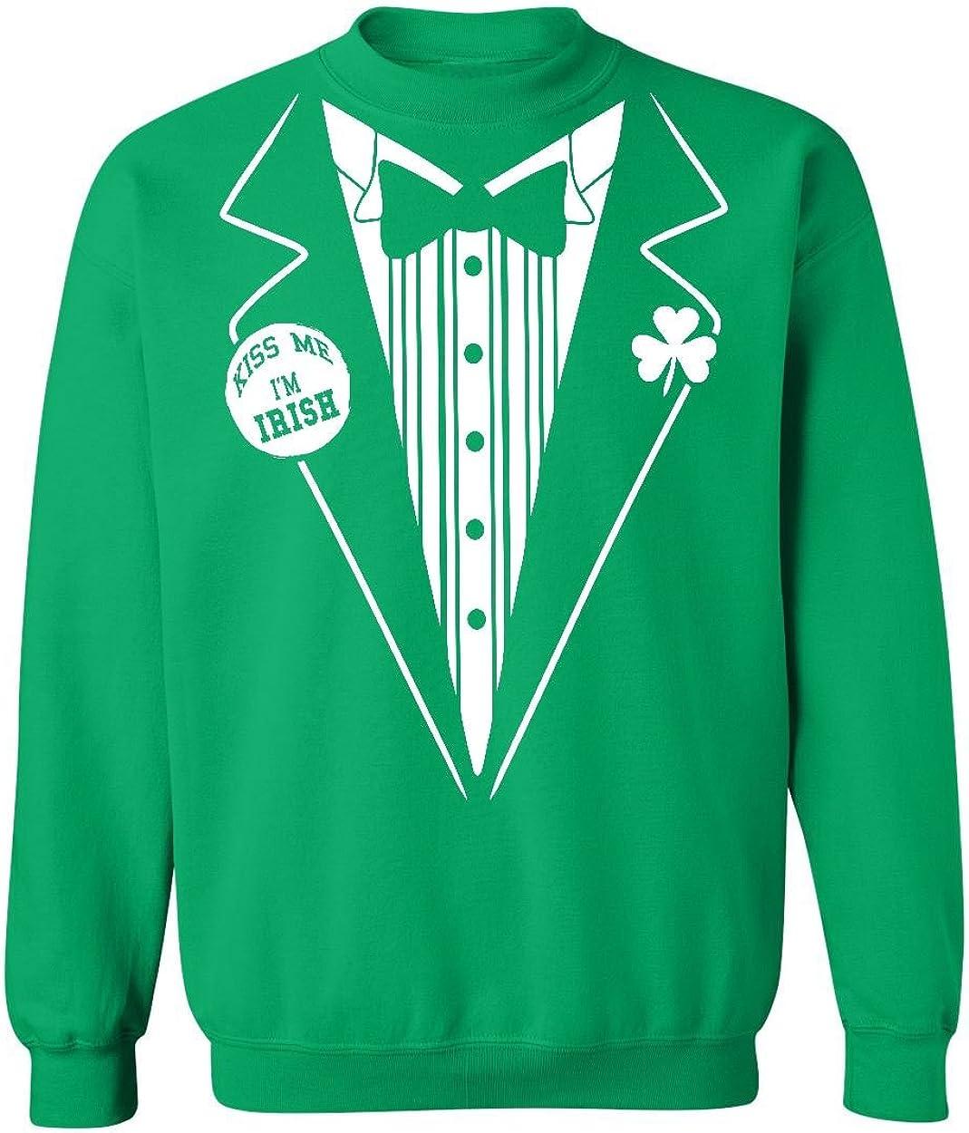 P&B Irish Tuxedo Kiss Me St Patrick's Day Crewneck Sweatshirt