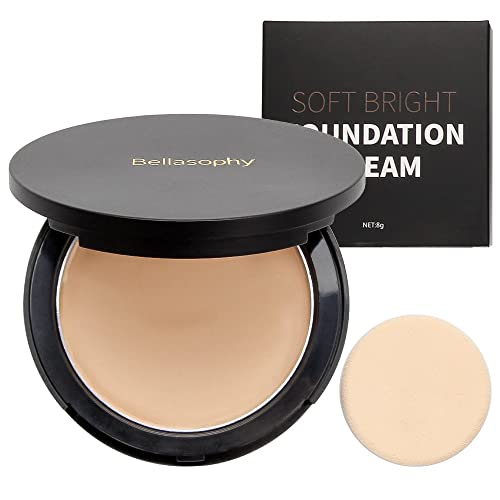 Bellasophy Compact Pur Mineral Creamy Soft Smooth Matte Full Coverage Foundation Long Lasting with The Sponge