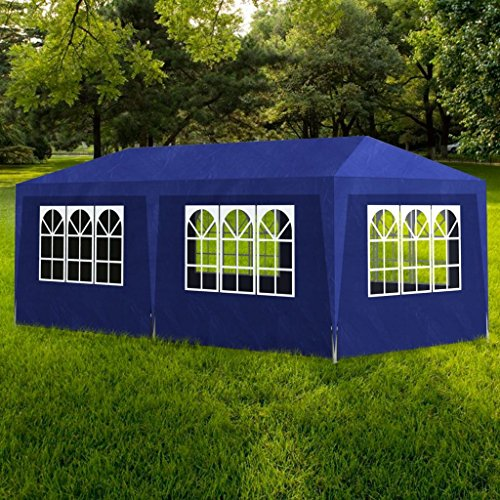 BLXCOMUS Blue Partytent 3x6 6wall, Tubular Steel And Polyethylene Roof Gazebo Canopy Tent With Size£º20' x 10' x 8' (L x W x H)
