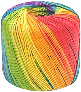 HEALLILY 1 Roll 133M Color Yarn Segment Soft Yarn Dyed Gradient Cotton Yarn Skeins Hat Shawl Line Material for Hand Knitti...