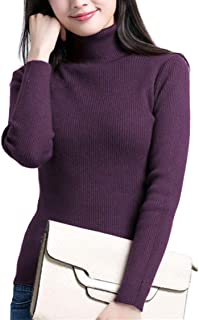 Fengtre Women's Turtleneck Cashmere Knit Elastic Long Sleeve Pullover Sweater,19 Colors Purple