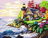 wcyljrb Pintura al óleo de niños Adultos de Bricolaje Faro Junto al mar Pintura Digital para Adultos nuevos niños Pintura al óleo Pintura decorativa-50 x 65cm(sin Marco)