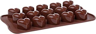 Goldball Silicone Heart Shaped Mold Tray Candy Ice Soap Crayons Chocolate Ice Jelly Pudding Mold Bar Party Drink DIY Maker (Brown, Heart Shaped, 1 Pcs)