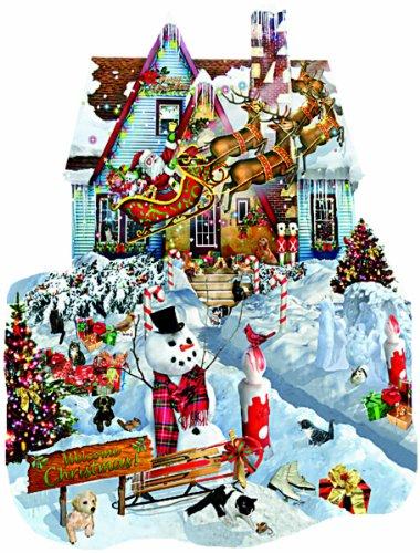 Puzzle 1000 Teile - Schory: Weihnachten bei uns zu Haus (Formpuzzle) - SunsOut 95539