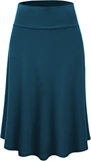 Lock and Love LL Womens Solid Flare Midi Skirt - Made in USA