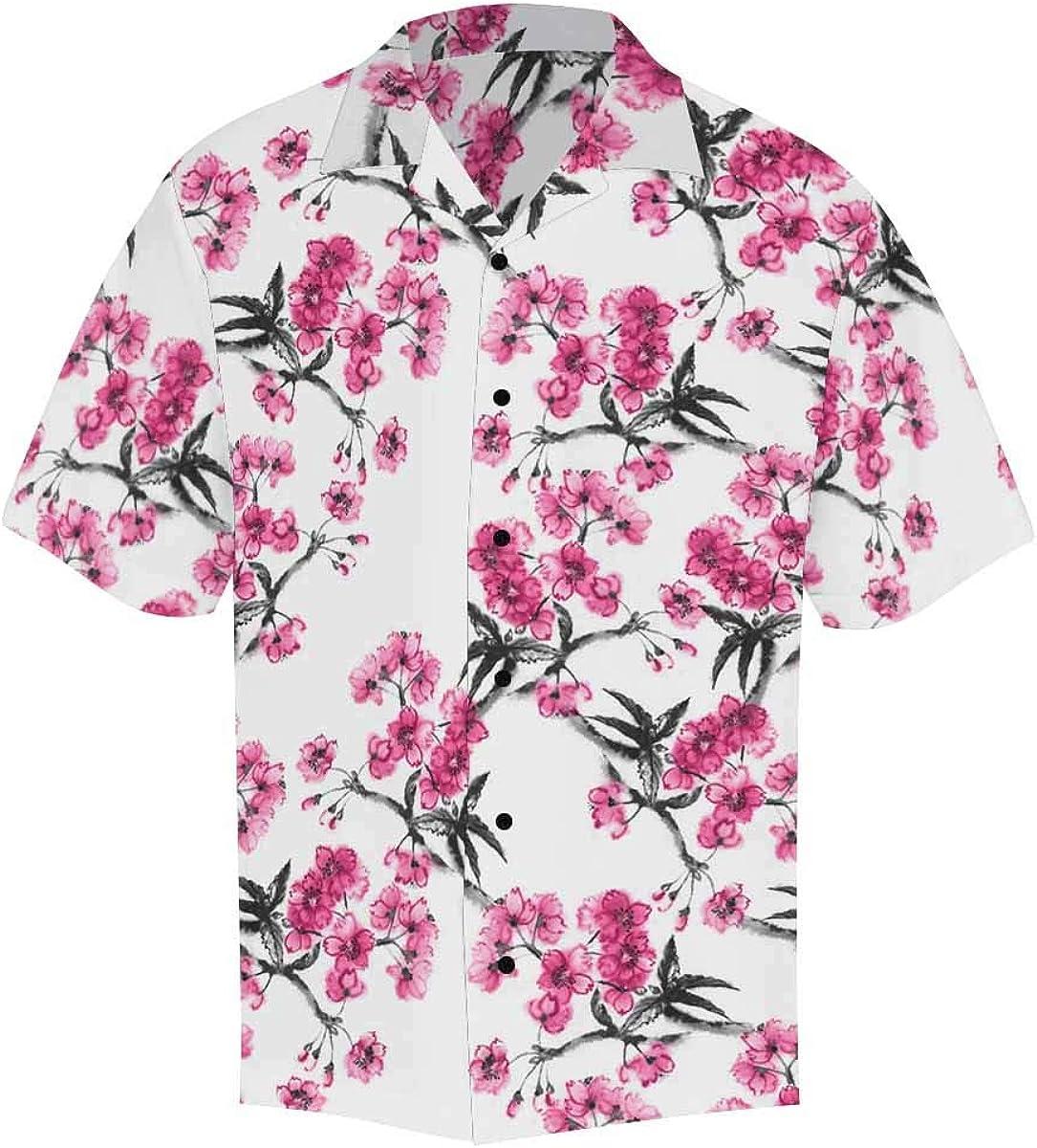 InterestPrint Men's Casual Button Down Short Sleeve Orange Sliced Sunglasses Hawaiian Shirt (S-5XL)