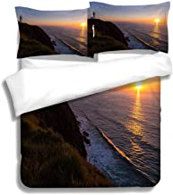 MTSJTliangwan Family Bed Sunrise at Byron Bay Lighthouse 3 Piece Bedding Set with Pillow Shams, Queen/Full, Dark Orange White Teal Coral