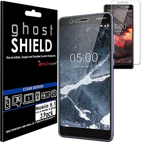 TECHGEAR [3 Pezzi Pellicola Protettiva Compatibile con Nokia 5.1 [Edizione ghostSHIELD] Proteggi Schermo Rainforzata Flessibile TPU Pellicola Copertura per Schermo Intero Incluso Schermo Curvo