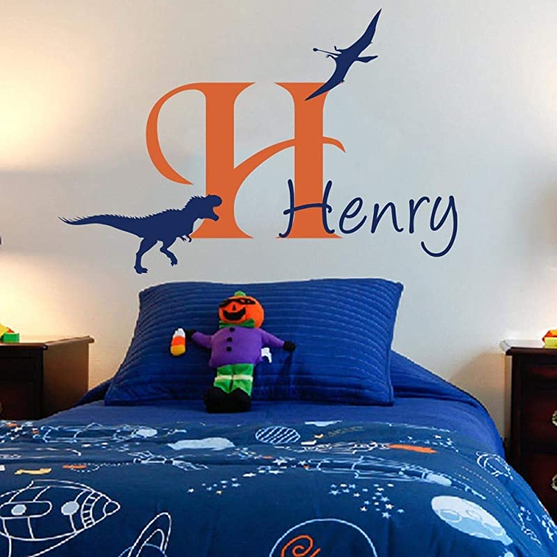 Large Cartoon Custom Dinosaur Name Wall Sticker Boy Room Kids Room Lovely Personalized Dino Jurassic Park Name Wall Decal Vinyl