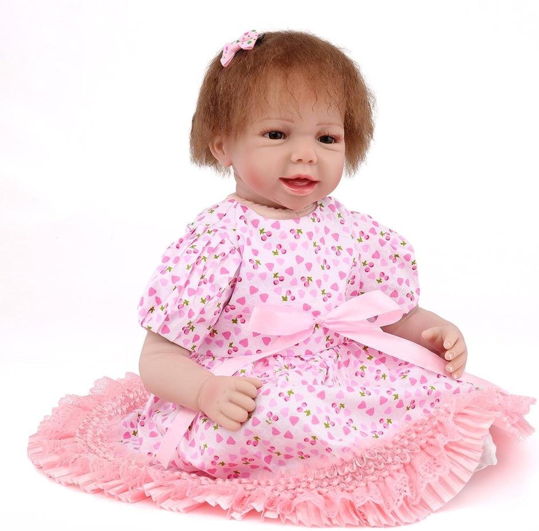 LINAG Babypuppen Reborn Baby Vinyl Silikon Weich Lebensechte Realistische Wirkendes 55cm 55cm Neugeborene Wiedergeboren Spielkameraden Spielhausspielzeug Mdchen Geschenk Simulation