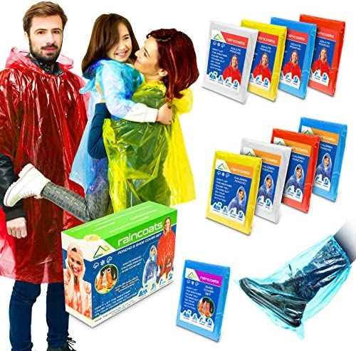 Rain Ponchos for Adults and Kids I Ponchos Family Pack I Rain Coats for Men and Women with Shoe product image