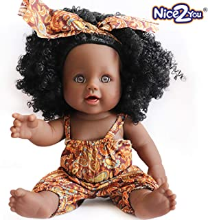 Nice2You Black Doll African Girl Baby Doll for Kids Fashion Play Doll 12inch Perfect for Birthday Gift