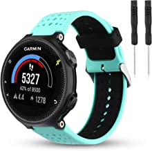 Wizvv Compatible Bands Replacement for Garmin Forerunner 235 220 230 620 630 735, Soft Comfortable Smooth Silicone Wristband for Women Men (Teal&Black)